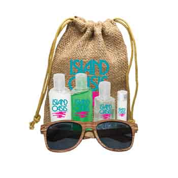 AM1563 - Jute Sun Kit with Faux Wood Frame Sunglasses