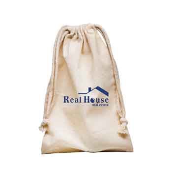 TR6600 - Large Natural Muslin Cotton Drawstring Pouch